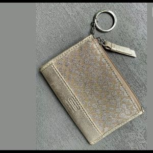 COACH Golden Canvas/Leather Keychain Wallet